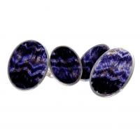 Derbyshire Blue John Oval Silver Cufflinks