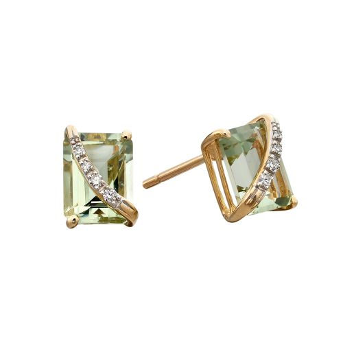 Green Amethyst and Diamond Gold Studs