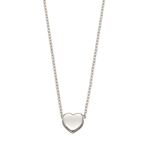 Tiny Heart Necklace in White Gold
