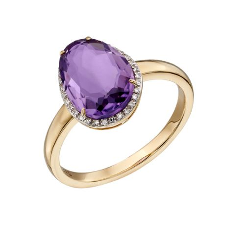 Amethyst Freesize Gold Ring
