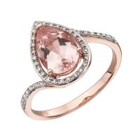 Teardrop Morganite Dress Ring in Rose Gold