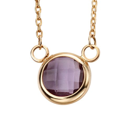 Amethyst In-Line Gold Necklace