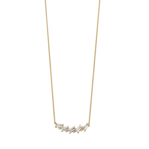 Art Deco Gold & White Topaz Necklace