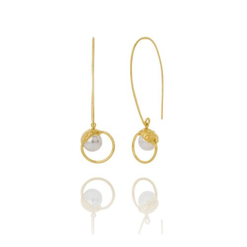 Sand Pearl Large Drop Earrings