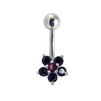 Navel Bar Small Gem Cluster in Black & Red