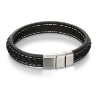 Flat Black Leather Bracelet