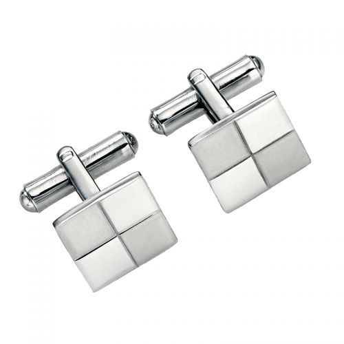Fred Bennett Brushed and Polished Chequered Cufflinks