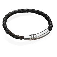 Fred Bennett Black Leather Bracelet with Sterling Silver Magnetic Clasp