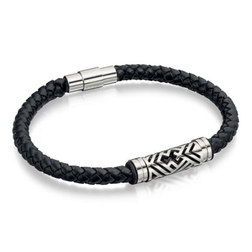 Maverick Black Leather Bracelet
