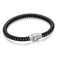Fred Bennett Stainless Steel Black Rope Bracelet
