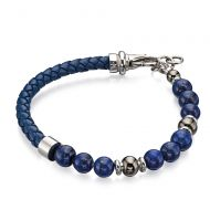 Leather Beaded Lapis Lazuli Bracelet