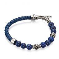 Leather Beaded Lapis Lazuli Bracelet