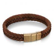 Rose Gold Flat Brown Leather Bracelet