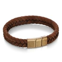 Rose Gold Flat Brown Leather Bracelet