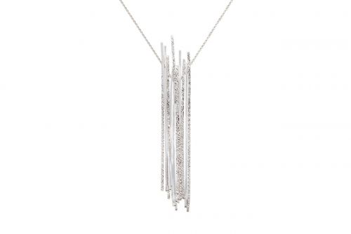 Architectural Lines Pendant on Long Chain