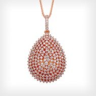 Rose Gold Domed Teardrop Statement Necklace
