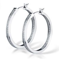 Silver Sparkly Hoops