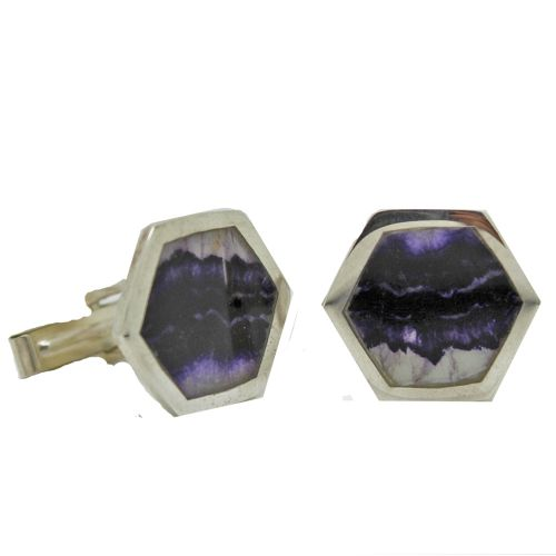 Hexagonal Blue John Cufflinks