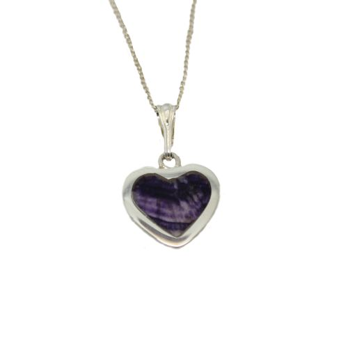 Heart Shaped Pendant set with Derbyshire Bluejohn