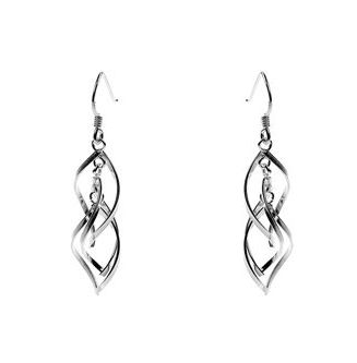 Two Piece Twirly Silver Drop Earrings