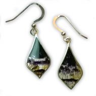 Derbyshire Blue John Pointed Teardrop Earrings