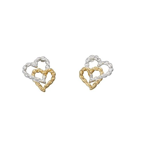 Gold & Silver Double Rope Heart Studs