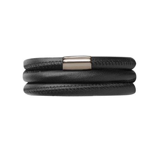 Endless Black Leather Bracelet Triple
