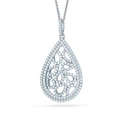 Filigree Tear Pendant with Cubic Zirconia