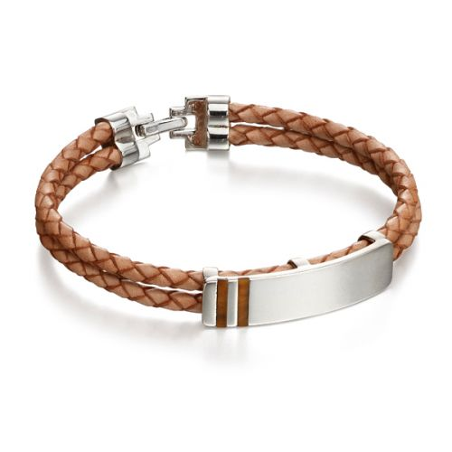 Tan Leather Inlay Bracelet