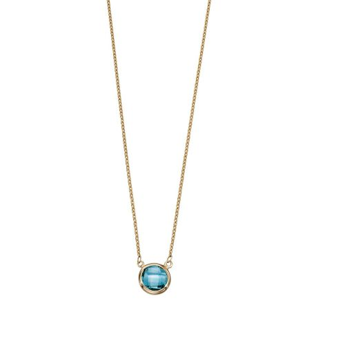 Blue Topaz In Line Gold Necklace