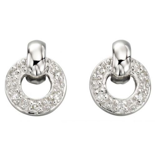 White Gold Diamond Pave Circle Studs