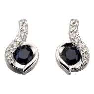 Diamond & Blue Sapphire Studs