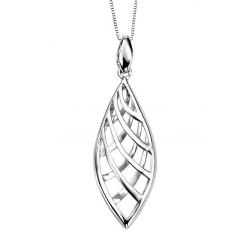"White Gold Open Pendant and 16"" Box Chain"