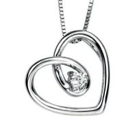 Diamond Spiral Heart in White Gold Pendant