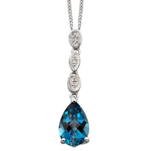 London Blue Topaz & Diamond Pendant