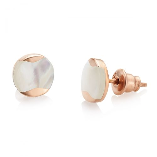 Jersey Pearl Dune Studs in Rose Gold