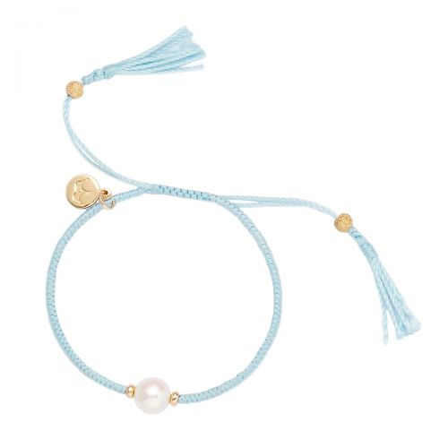 Jersey Pearl Crown Tassel Bracelet in Sky Blue