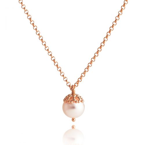 Emma Kate Rose Gold Pearl Pendant