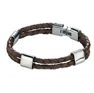 Fred Bennett Stainless Steel Double Brown Leather Bracelet