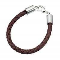Plaited Brown Leather Men's Bracelet with Stainless Steel Clasp