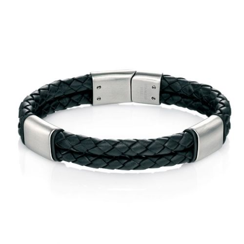 Fred Bennett Stainless Steel and Double-Row Plaited Black Leather Bracelet