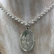 "Oval St Christopher and 24"" Silver Belcher Chain"