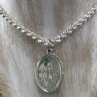 """Oval St Christopher and 24"""" Silver Belcher Chain"""