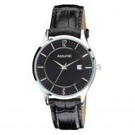 Accurist Black Leather Strap Mens Watch MS649