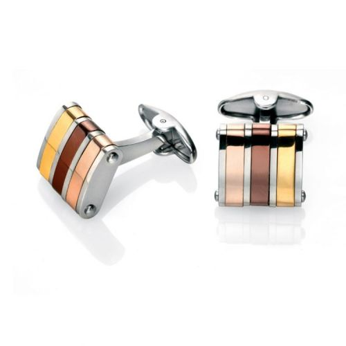 Fred Bennett Three-Tone Metal Stripe Stainless Steel Cufflinks