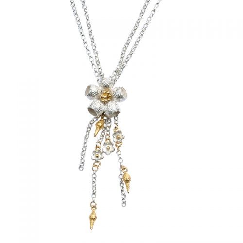Ana Verdun Silver and Gold-Plated Gumnut Flower Necklace