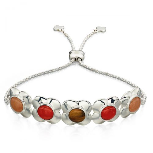 Orla Kiely Silver Quartz and Tiger's Eye Bracelet
