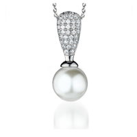 Vintage Style Pearl and Cubic Zirconia Silver Pendant