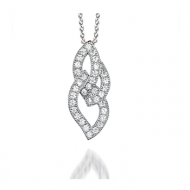 Microset Cubic Zirconia Intertwined Leaves Pendant