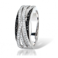 Black and Clear Sparkly Weave Ring